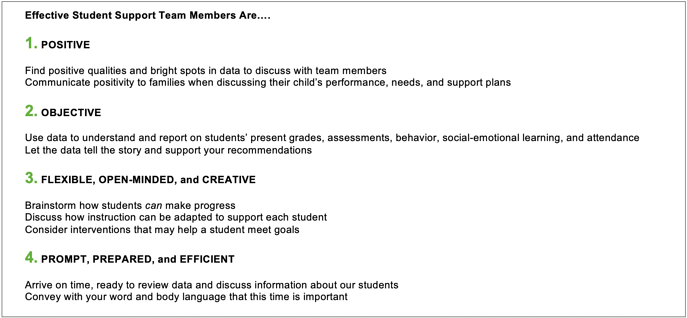 4 behaviors effective student support team member