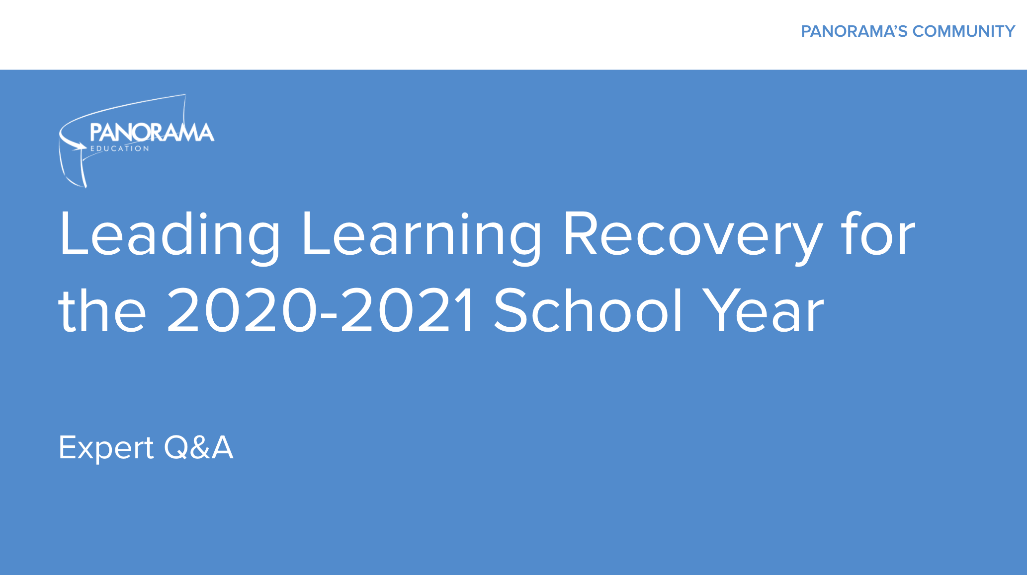 Leading Learning Recovery Expert Panel