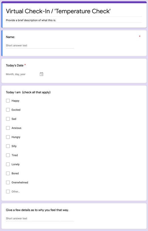 Student Temperature Check Form